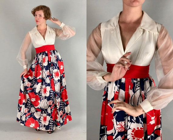 1960s Maxi Dress | Vintage 60s Red White and Blue Flower Power Gown with Sheer Puff Sleeves | Small