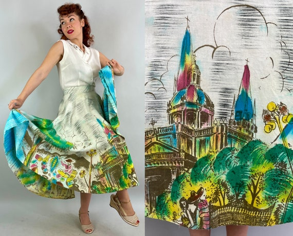 """1940s """"Artegreen"""" Hand Painted Novelty Skirt 