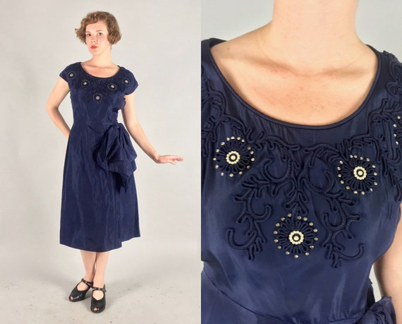 "1940s Cobalt Party Dress | Vintage Late 40s Navy Blue Cocktail Dress with Beaded and Appliqué Neckline by ""Fashion Mark"" 