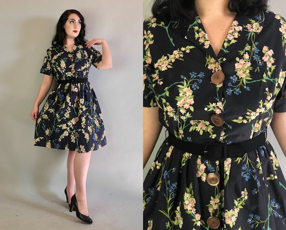 1950s Black Floral Frock | Vintage 50s Blue, Pink, White & Green Flower Pattern Cotton Party Day Dress | Extra Large XL Volup