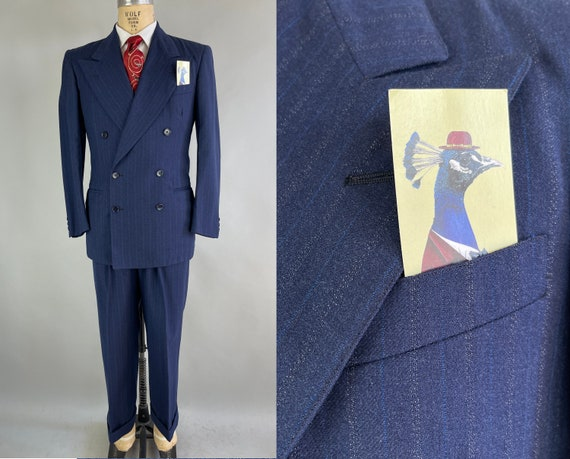 1940s Man About Town Suit | Vintage 40s Electric Pinstripe Berry Blue Wool Double Breasted Peak Lapels Blazer & Trousers | Size 38 Medium