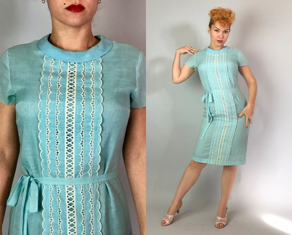 1960s Aqua Shift Dress | Vintage Early 60s Bright Blue & White Sheer Linen Day Dress with Scalloped Center Panel and Self Tie Belt | Small