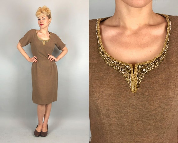 1940s Heather Camel Cocktail Dress | Vintage 40s 'Paul Parnes' Tan Wool Secretary Pencil Day-to-Night Dress w/ Embellished Neckline | Small