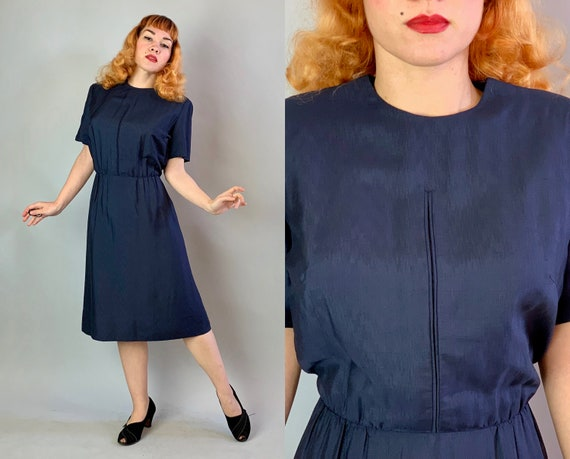 "1950s Sensible Sally Day Dress | Vintage 50s Short Sleeved ""Jean Lang Original"" Navy Blue Raw Silk Mid Length Frock 