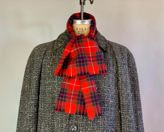 """1940s Mens Plaid Scarf   Vintage 40s Firetruck Red, Forest Green, White, & Black Scottish Tartan Wool with Fringe Scarf for """"Bloomingdales"""""""