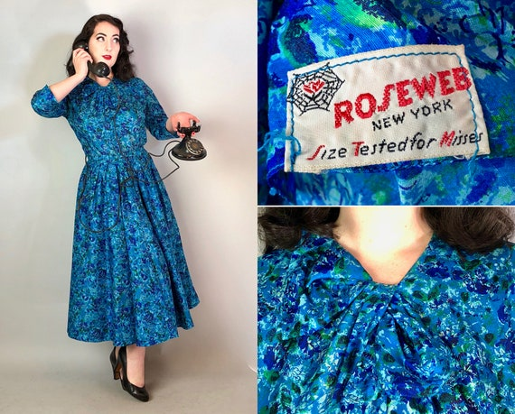 1940s 'Roseweb' Impressionistic Dress | Vintage 40s Hues of Blue and Green Floral Rayon Novelty Print Day Dress w/ Bow & Self-Belt | Medium