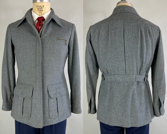 1940s Terrific Townsman Belted Back Jacket | Vintage 40s Heathered Blue Grey Wool Coat with Box Pleated Patch Pockets and Action Back| Small