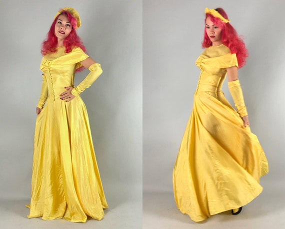 1930s 'Belle' Dress Set | Vintage 30s Canary Yellow Rayon and Silk Chiffon Evening Gown with Matching Tiara Cap and Gauntlets | Small Medium