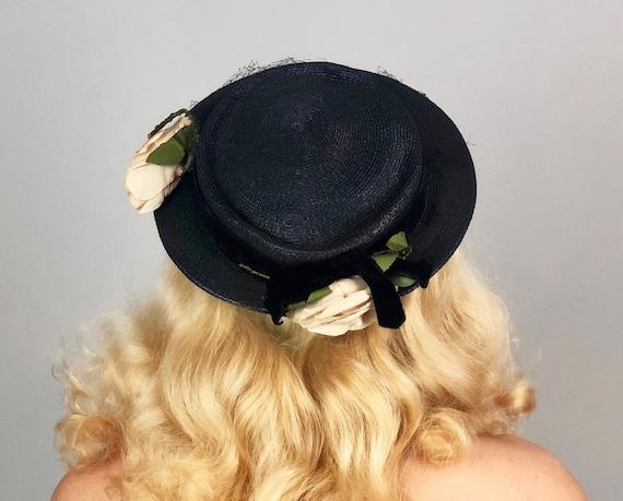 Vintage 1930s Hat | 30s Navy Blue Straw Pork Pie Cap with Velvet Band Ivory White Roses and Net Veil
