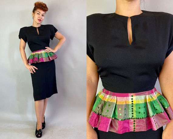 1940s Cocktail Couture Frock | Vintage 40s Black Rayon Crepe Frock with Rainbow Plaid Taffeta Full Smocked Peplum with Metal Sequins | Small