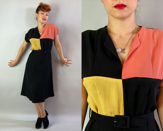 1940s Color Block Frock | Vintage 40s Black Rayon Crepe Day to Night Party Dress w/Yellow & Coral Square Blocks | Large/Extra Large XL Volup
