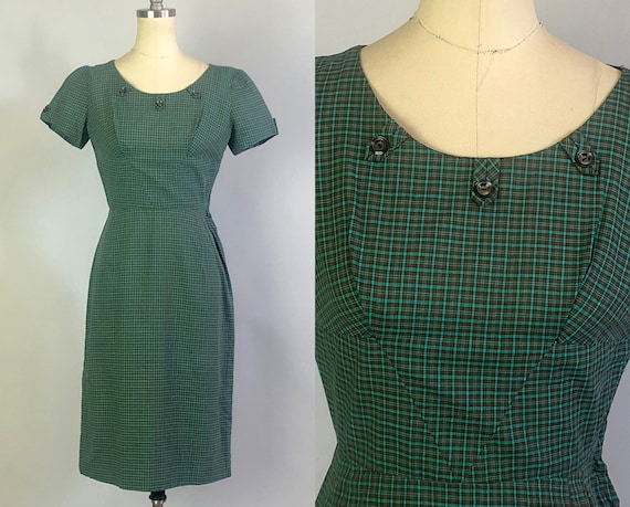 1940s Cute as a Button Day Dress | Vintage 40s Deco Green and Brown Plaid Cotton Party Dress with Pencil Skirt & Button Tabs |XS Extra Small