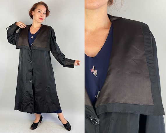 1920s Dark Decadence Duster Coat | Vintage 20s Black Silk Lightweight Long Jacket with Sailor Flap and Jewel Facet Buttons | Extra Large XL