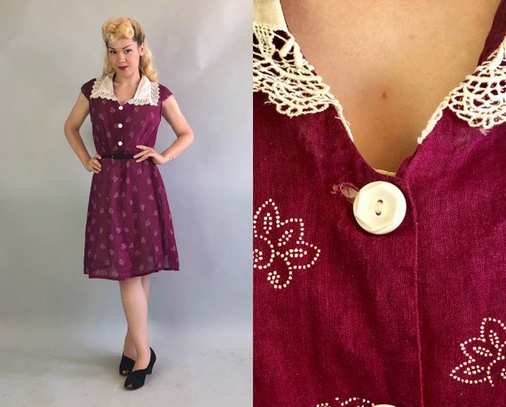 1930s Dark Cherry Red Dress | Vintage 30s Volup Cotton Shirtwaist Frock w/Allover White Pindot Floral Print & Lace Collar | Extra Large XL