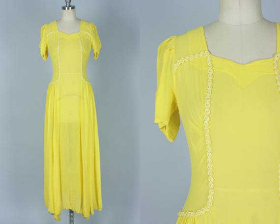 Vintage 1930s Dress | 30s Art Deco Brilliant Yellow Sheer Chiffon Summer Afternoon Day-to-Night Gown w/ Buttons Up The Back | Extra Small XS