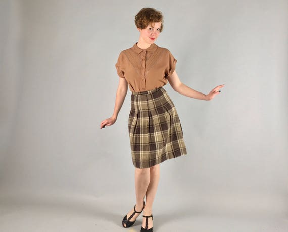 Vintage 1950s 1960s Skirt | 50s 60s Brown and Olive Green and White Plaid Tartan Wool Schoolgirl Kilt | Small