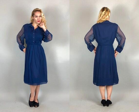 "Vintage 1950s Dress   50s ""Edith Martin"" Sheer Sapphire Blue Silk Chiffon Shirtwaist Dress w/Rhinestone Buttons Volup   Extra Large XL"