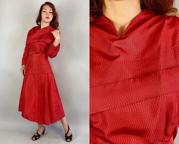 1940s Scarlet Envy Dress | Vintage 40s Lipstick Re