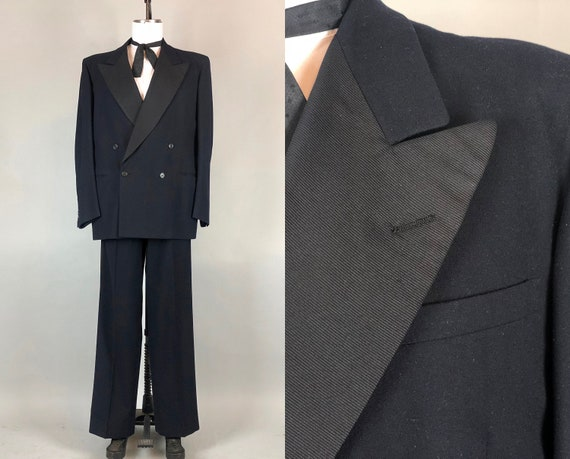 "Vintage 1940s Tuxedo | 40s Double Breasted Dark Midnight Blue Black Peak Lapel Tux Suit By ""Roger Kent"" 