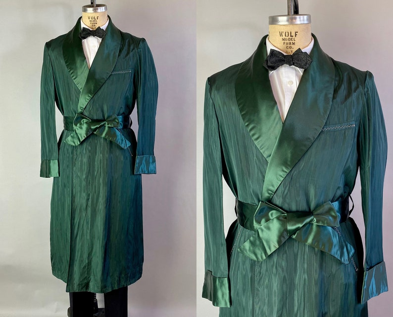 1930s Lounging in the Emerald City Robe  Vintage 30s Green image 0