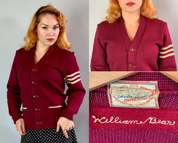 1940s Collegiate Boyfriend Cardigan | 40s Maroon Red & Ivory White Two-Tone Worsted Wool Knit Letterman Varsity Sweater with Pockets | Small