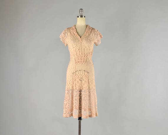 Vintage 1930s Dress | 30s Pale Cotton Candy Pink Floral Lace Gatsby Day Dress | XS Extra Small