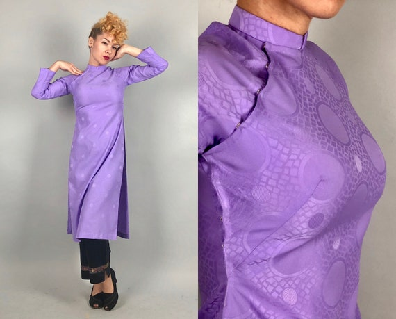 Vintage 1960s Coat Dress | 60s Lilac Purple Cheongsam QiPoa OverDress Lounge Coat with Textured Geometric Circles Pattern | Extra Small XS