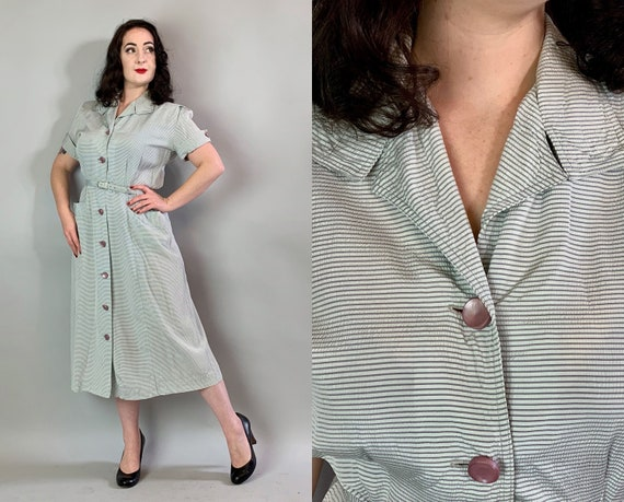 1940s Striped Summer Frock | Vintage 40s Gray & White Cotton Horizontal Seersucker Dress with Lilac Buttons, Self-Belt, and Pockets! | Large