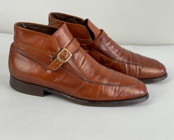 1960s Beatnik Boots | Vintage 60s Honey Brown Leather Beatle Chelsea Ankle Shoes with Brass Buckle Monk Strap by Florsheim | US Size 8.5