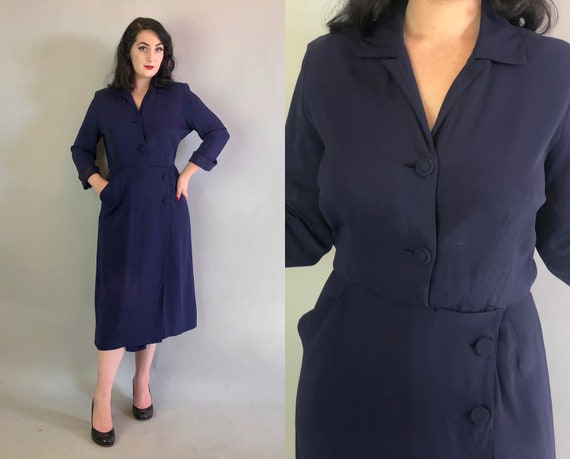 Vintage 1940s Dress   40s Navy Blue Crepe Rayon Chic Day to Night Dress by 'Mancini' with Collar, Self Buttons, and Pockets!   Medium