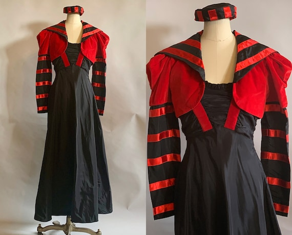 1930s Queen of Hearts Three Piece Evening Set | Vintage 30s Black Taffeta Gown w/Striped Red Velvet Bolero and Matching Hat | Extra Small XS