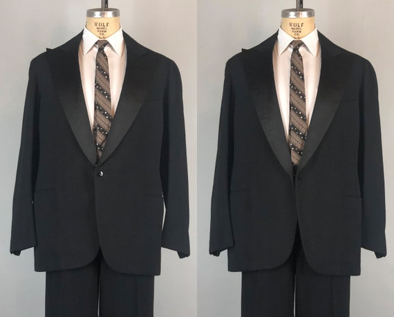 Vintage 1930s Tuxedo | 30s Beautiful Black Wool Single Breasted Satin Peak Lapel Tux Suit San Francisco Dated 1936! | Size 42L Large Long