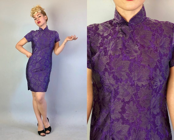Vintage 1950s Dress | 50s Eggplant Purple Silver Crinkle Silk Short Sleeve Cheongsam Qi Poa Evening Cocktail Dress w/ Floral Pattern | Small