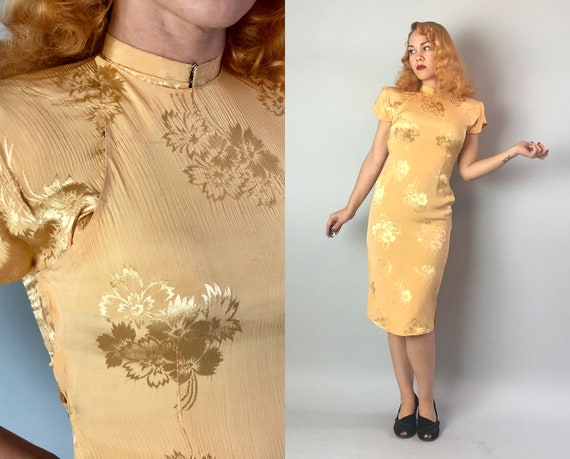 1940s Golden Dream Dress | Vintage 40s Flax Yellow Crinkled Rayon Cheongsam Qipao with Woven Satin Flower Design and Shoulder Pads | Small