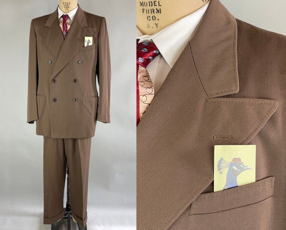 1940s Gallant Gilbert Suit | Vintage 40s Deep Taupe Brown Wool Gabardine Peak Lapel Jacket Vest & Trousers DATED 1949! | Size 42 Large