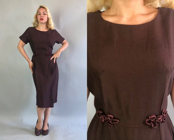 1950s Chestnut Brown Dress | Vintage 50s Cotton & Silk Short Sleeve Day to Evening Dress w/Sienna Brown Satin Frog Clasps and Piping | Large