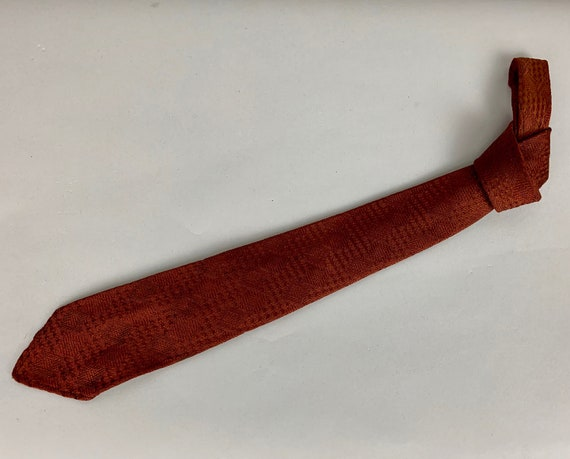 Vintage 1930s Dapper Dan Necktie | Vintage 30s Burnt Umber Italian Silk Hand Loomed Grenadine Geometric Squares Woven Tie