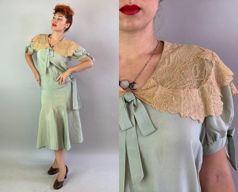 1920s Garden Tea Party Dress  Vintage 20s Seafoam Green Silk image 0