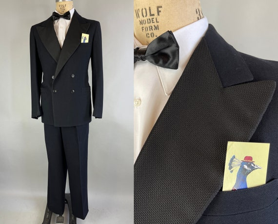 1940s George's Black Navy Tuxedo | Vintage 40s Black Wool Double Breasted Tux Suit with Wide Textured Peak Lapels 'US Navy' | Size 38 Medium