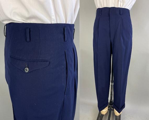 1930s Dashing Dan Trousers | Vintage 30s Navy Blue Wool Gabardine Pleated and Dropped Loops Slacks Pants with Cuffed Hems | 32x27 Medium