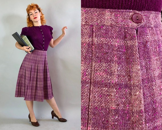 1940s Flecked Plaid Skirt | Vintage 40s Purple and Pink Plaid Wool Tweed Skirt with Inverted Box Pleating by 'Barry Ashley' | Large