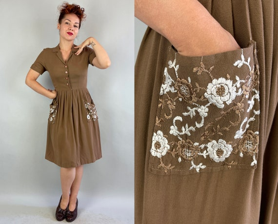 1940s Floral Block Cocoa Frock | Vintage 40s Cotton Shirtwaist Day Dress with White and Brown Flower Embroidery and Pockets | Small