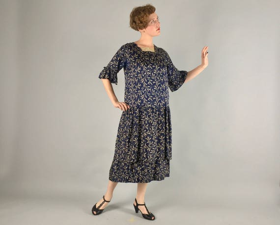 Vintage 1920s Dress | 20s Navy Blue Silk Day-To-Evening Dress with Cream White Olive Branch Print | Medium