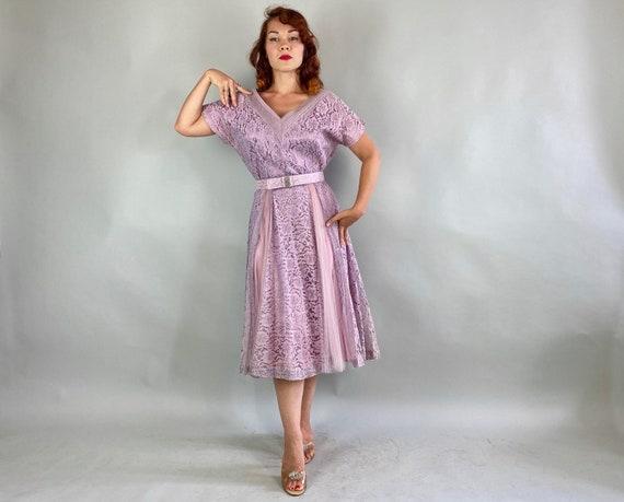 1940s Lovely Lavender Lace Dress   Vintage 40s Pa… - image 5