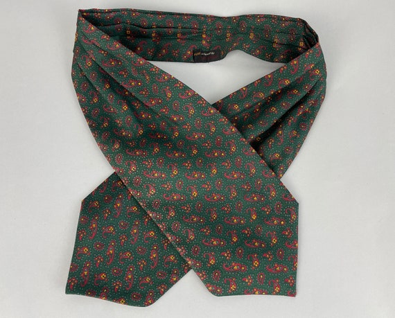 1960s Silk Paisley Ascot  | Vintage 60s Deep Forest Green Cravat with Red and Yellow Paisley Design Muffler Tie