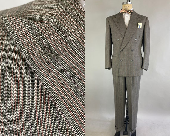 1940s Dandy Dennis Suit | Vintage 40s Grey, Black, Red and White Wool Tweed Pin Striped Two Piece Set Jacket and Pants | Size 40 Medium
