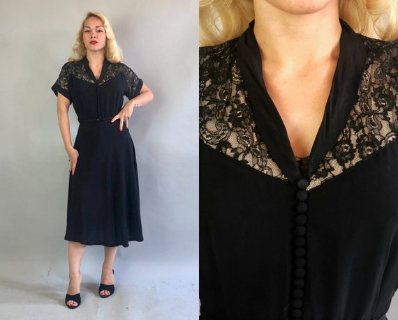 1940s Rayon Cocktail Dress | Vintage 40s Black Dress with Nude Lace Illusion Neckline Shawl Collar and Decorative Self Buttons LBD | Medium