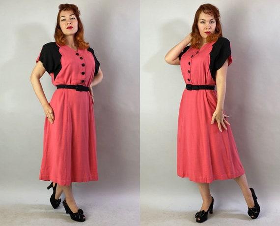 1940s Color Block Cutie Dress | Vintage 40s Coral… - image 6