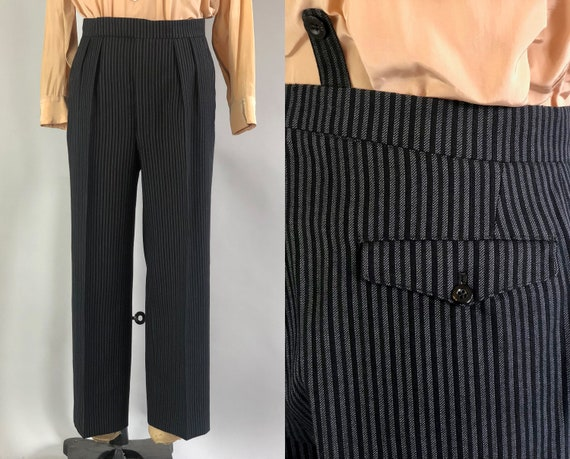 1930s Morning Trousers | Vintage 30s Black Wool Tuxedo Formal Pants Slacks w/ Grey Gray Vertical Stripes & Bunny Ears | 34x27 Medium