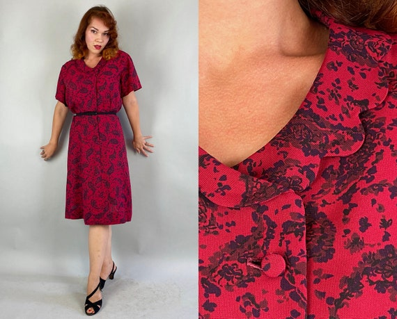 1950s Sweet Treat Dress | Vintage 50s Dark Cherry Double Breasted Frock with Black Paisley Pattern and Scalloped Collar | Extra Large XL